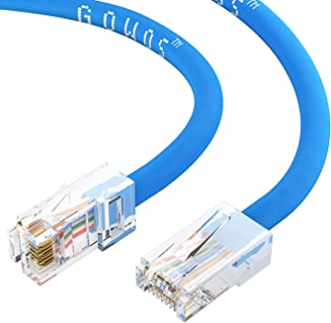 PcConnectTM Cat 5e Orange Ethernet Patch Cable Bootless 2 feets