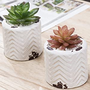 MyGift Vintage 4-Inch White Ceramic Succulent Planter Pots with Embossed Zigzag Design, Set of 2