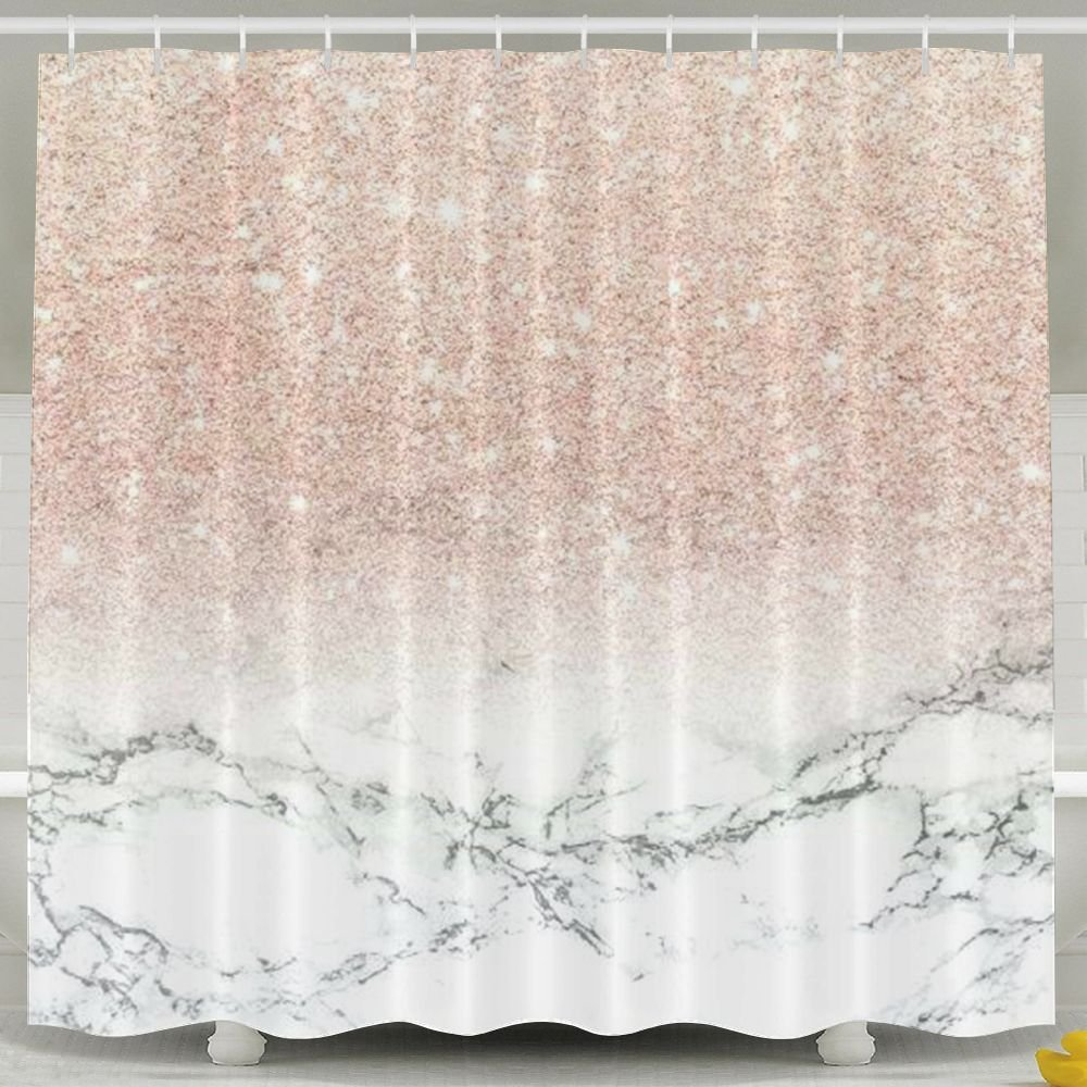 LETEPRO 60 X 72 Inch Shower Curtain, Rose Gold Marble, Waterproof Polyester Decorative Bath Curtains