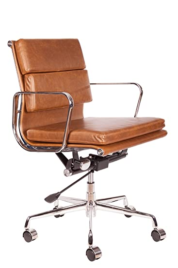 Surprising Lazybuddy Vintage Premium Caramel Brown Pu Leather Soft Pad Executive Management Office Replica Chair Swivel And Polished Aluminium Frame Low Back Gamerscity Chair Design For Home Gamerscityorg