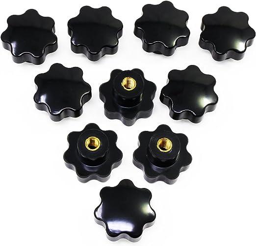 COMOK M8 Female Thread 40mm Head Diameter Round Head Knurled Clamping Knob Black 10Pcs