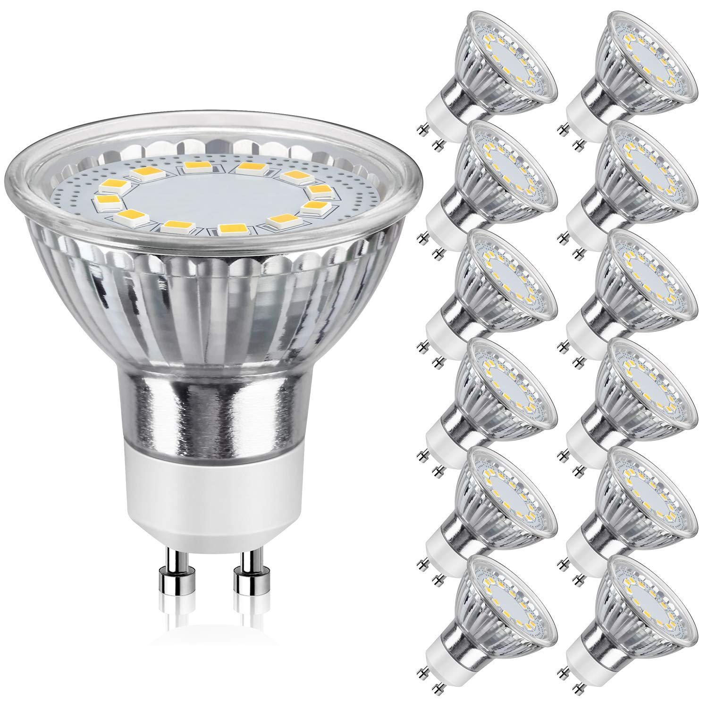 SHINE HAI GU10 LED Light Bulbs 50W Equivalent, 5000K Daylight White Track Lighting, 120 Degree Beam Angle, CRI>85, Non-Dimmable, Pack of 12