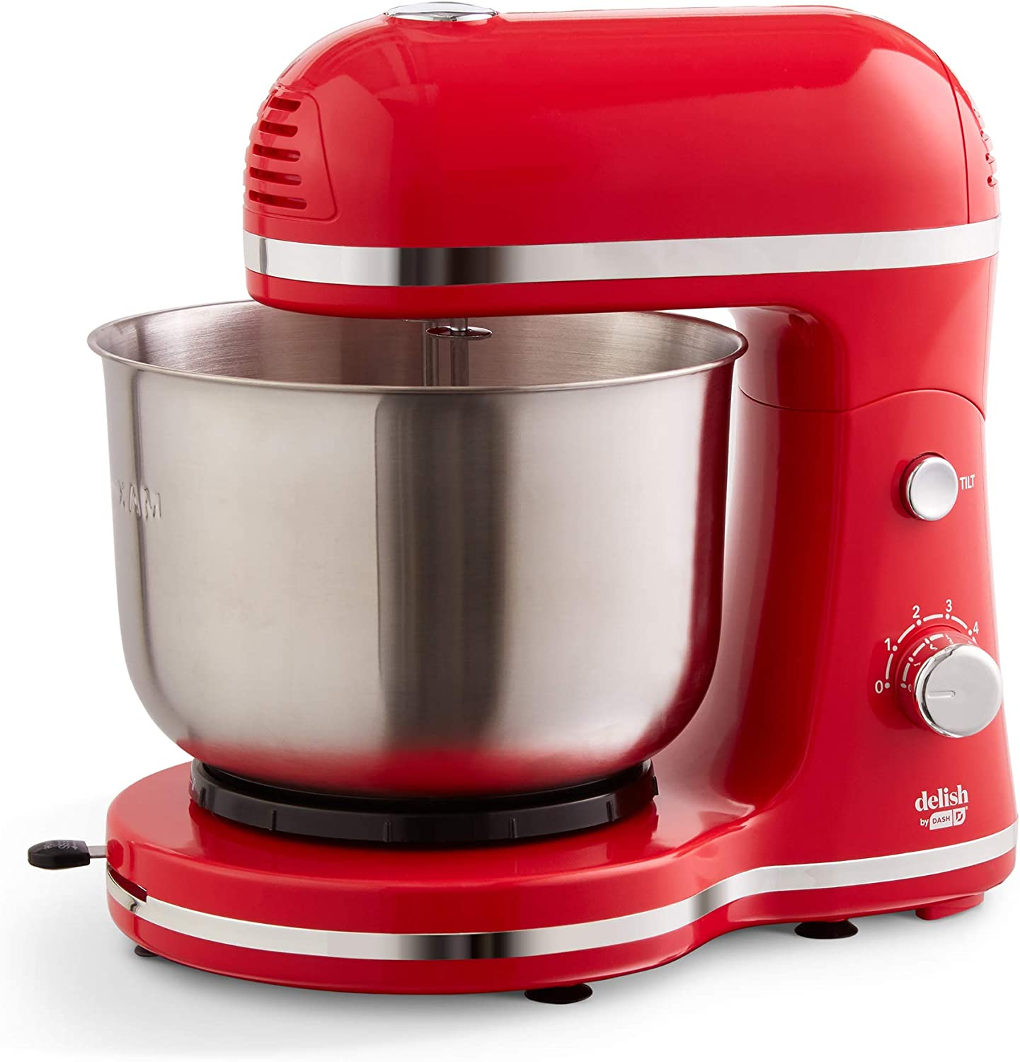 Delish by DASH Compact Stand Mixer 3.5 Quart with Beaters & Dough Hooks Included - Red (DCSM350GBRD02)