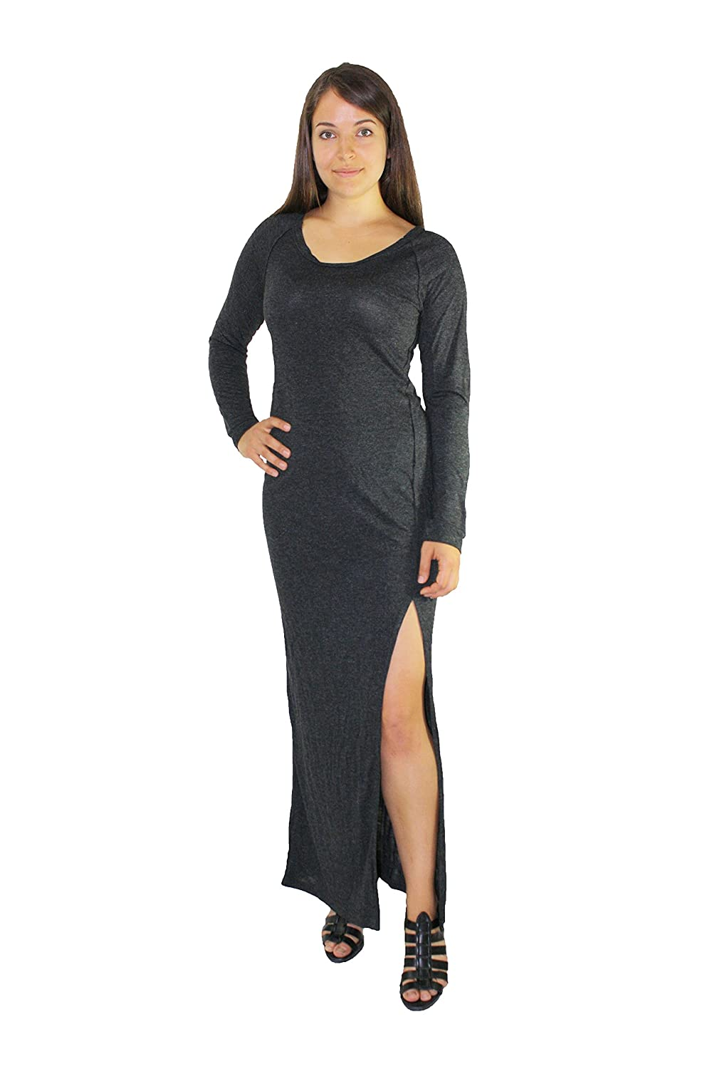 Women's Diesel Cotton Marl Maxi Dress with Back Cut-outs and Side Slit