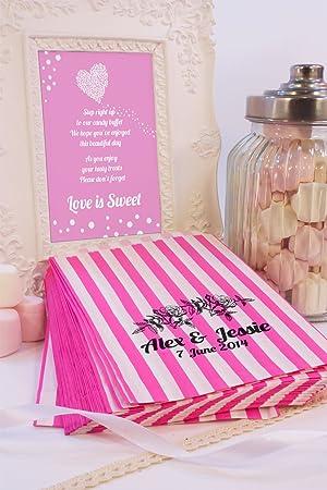 Personalizado boda bolsas de dulces rosas guirnalda flores Candy carro favor de la boda confeti Engagement: Amazon.es: Hogar