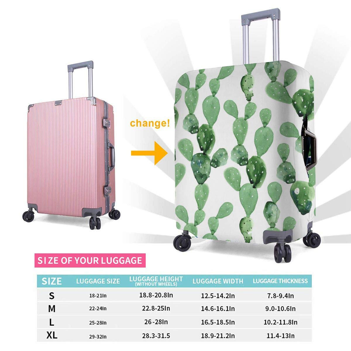 Cactus Pattern Printed Business Luggage Protector Travel Baggage Suitcase Cover 4 Size