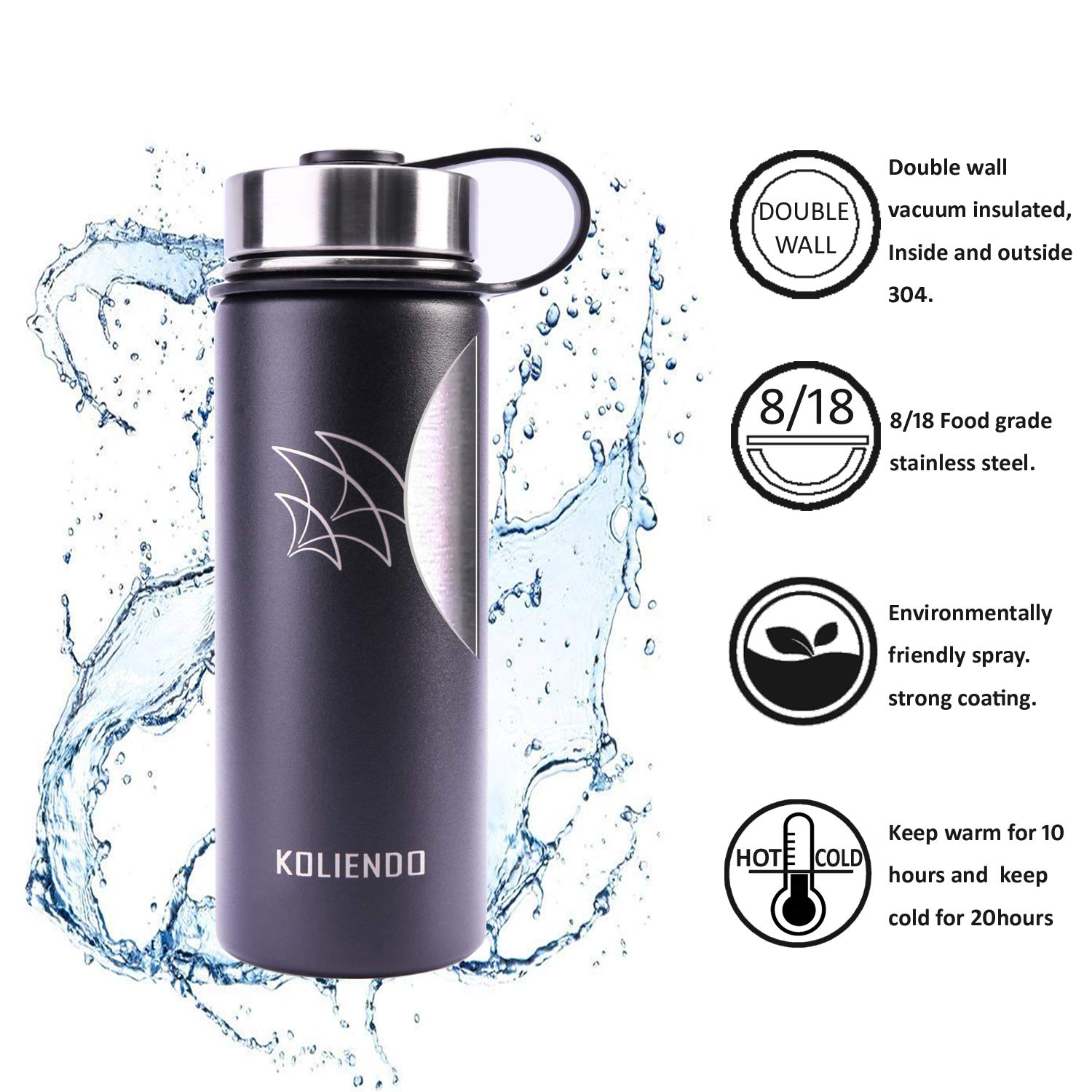 KOLIENDO Water bottle Stainless steel Double walled 500ml 900ml 1100ml vacuum insulated wide mouth thermos 2lids for Fitness Outdoor sports(black)