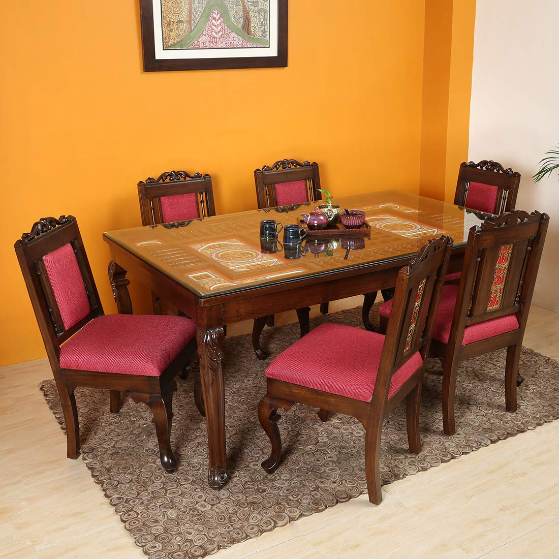 Aakriti Art Creations Six Seater Dining Table With Six Chairs Amazon In Electronics