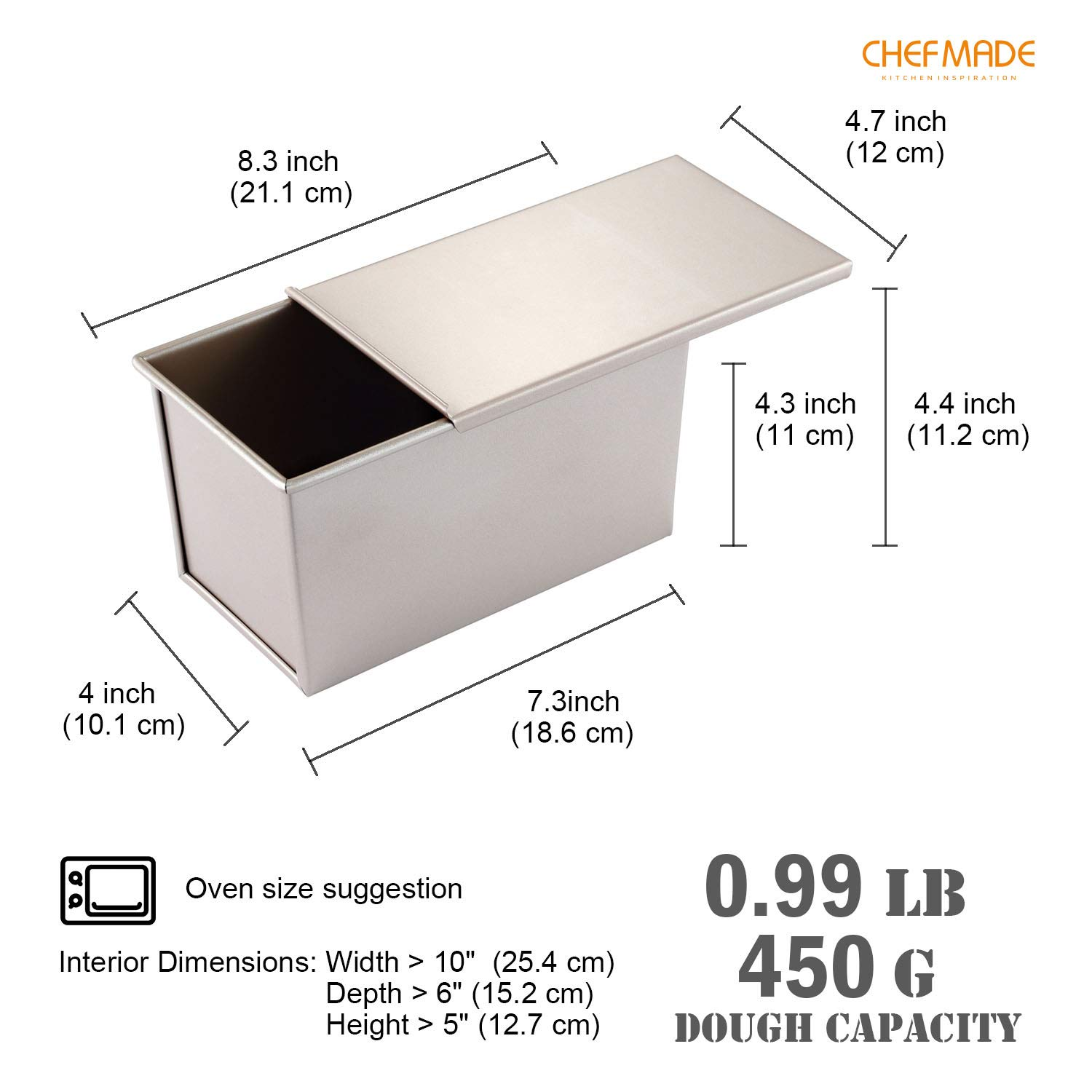 Champagne Gold FDA Approved for Oven Baking 0.66Lb Dough Capacity Non-stick Rectangle Smooth Toast Box CHEFMADE Pullman Loaf Pan with Lip