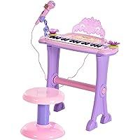HOMCOM Teclado Electrónico Infantil 32 Teclas Juguete Musical con Micrófono Taburete Luces Variedad Sonidos Rítmos…