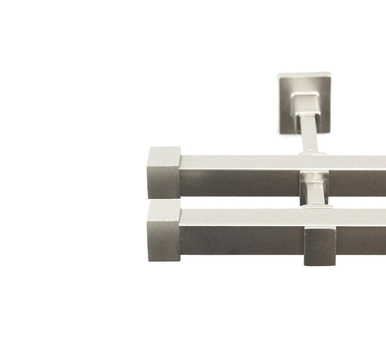 Rollmayer quadratisch Gardinenstange 120-600cm im Silber Matt aus Metall (Saturn, 320cm Silber, 2-läufig) Wandbefestigung einfache Montage Ohne Ringe
