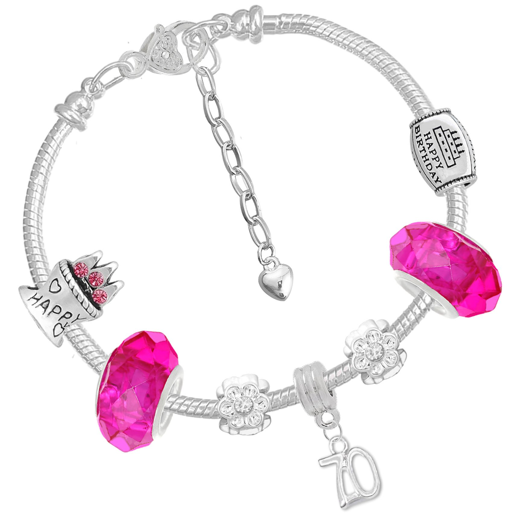 Ladies 70th Birthday Pink Silver Crystal Charm Bracelet and Birthday Card Gift Box Set