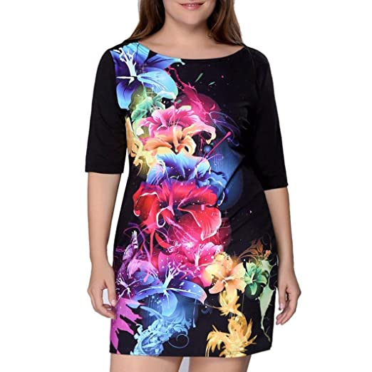 607b8e6c49b Misaky Women s Round Neck Half Sleeves Floral Plus Size Dress at ...