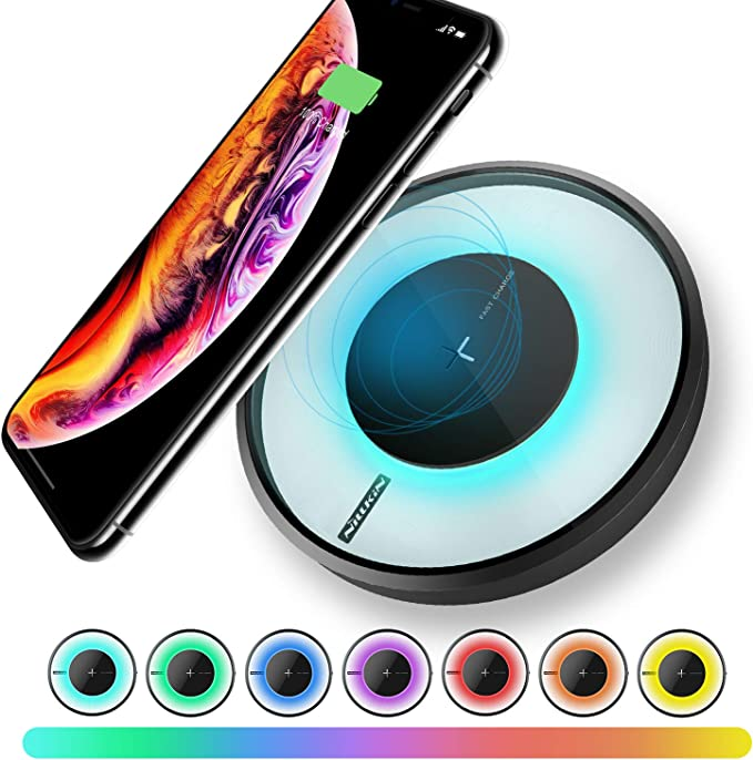 Nillkin Fast Wireless Charger with Colorful LED, Qi Wireless Charging Pad Compatible with iPhone XXR88 PlusXSXS Max, 10W Fast for Samsung Galaxy