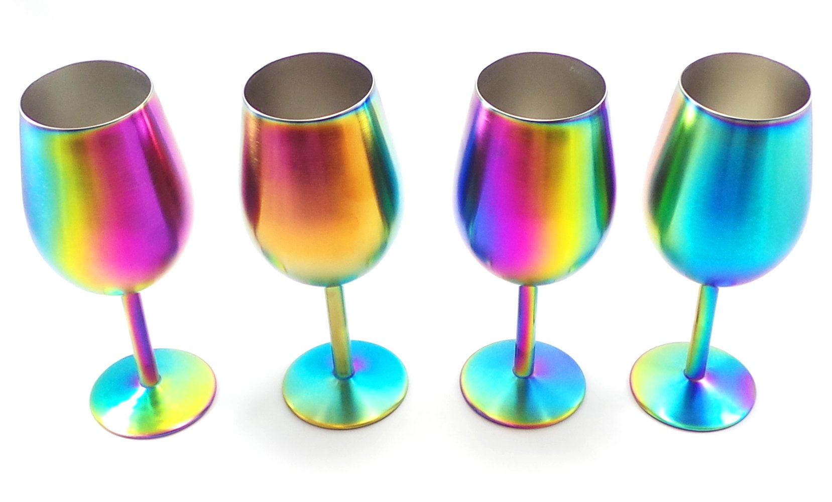 Shatterproof Stainless Steel Wine Glasses (Set of 4), Titanium Rainbow Colored Finish, Lids Included, Long Stemmed by Great Spirit Wares (Image #2)