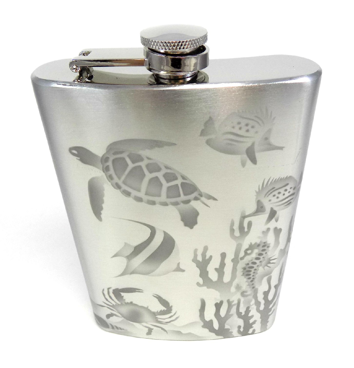 IncisoArt Hand Etched Stainless Steel Flask Sandblasted (Sand Carved) Upgraded 304 SS with Funnel (Aquatic Animal Ocean Combo, 12 Ounce)