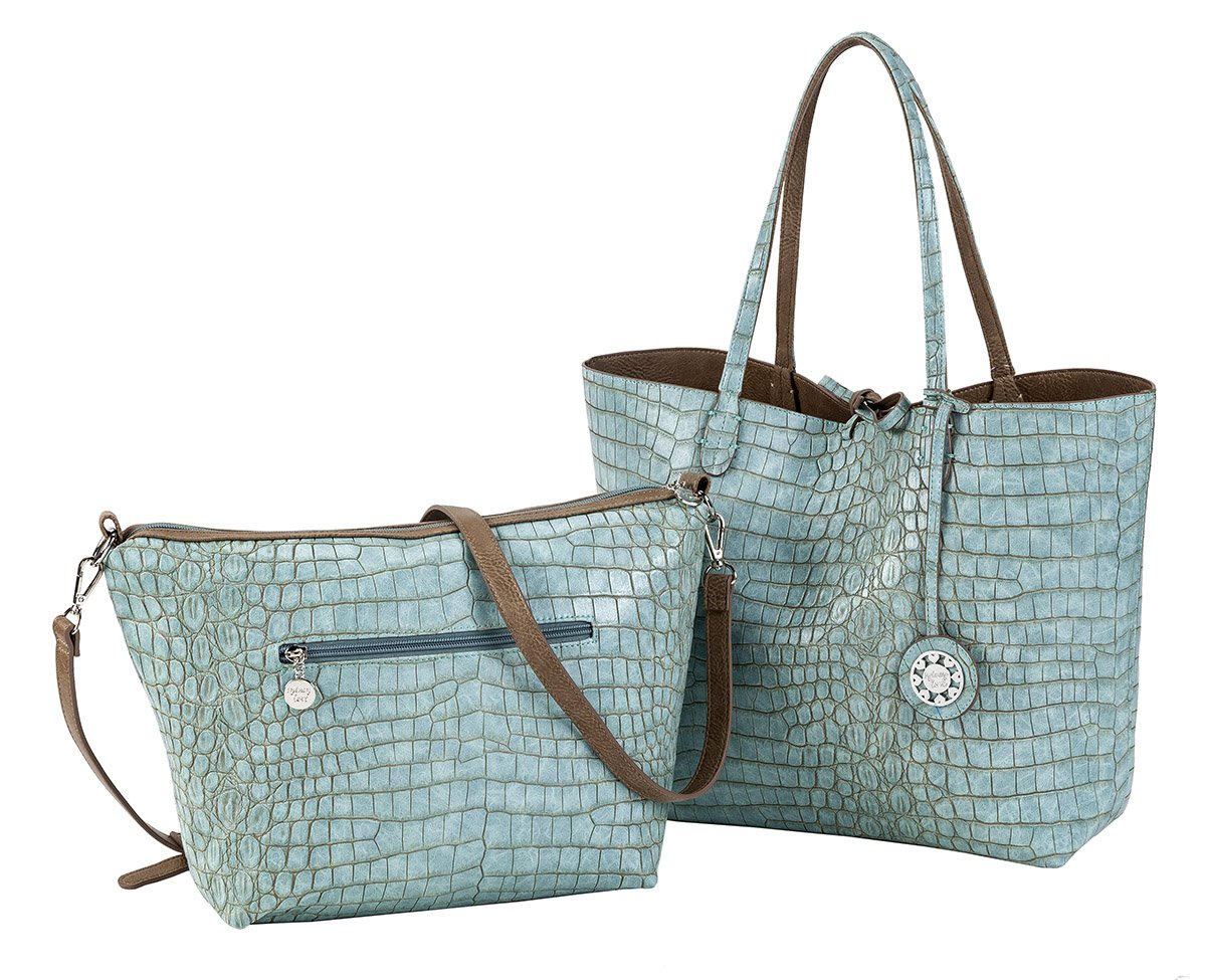 Sydney Love Crocodile Reversible Tote with Additional Cross Body Bag