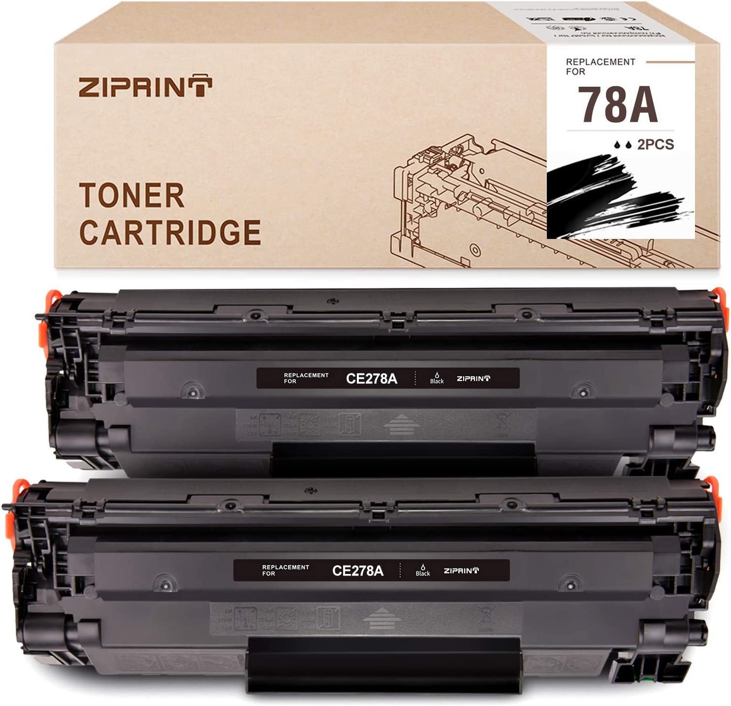 Ziprint Compatible Toner Cartridge Replacement for HP 78A CE278A Use with HP Laserjet Pro M1536dnf Pro P1606dn P1560 P1566 P1600 P1606 (Black,2-Pack)