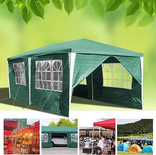 huigou Carpas 3x6M cenadores Jardin Carpa Impermeables Aire Libre Gazebo Incl. 6 Lados Removibles marquesina (Verde): Amazon.es: Jardín