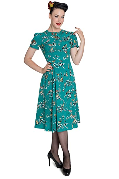 1940s Style Dresses | 40s Dress, Swing Dress Hell Bunny New Birdy Vintage Landgirl 40s Dress $49.99 AT vintagedancer.com