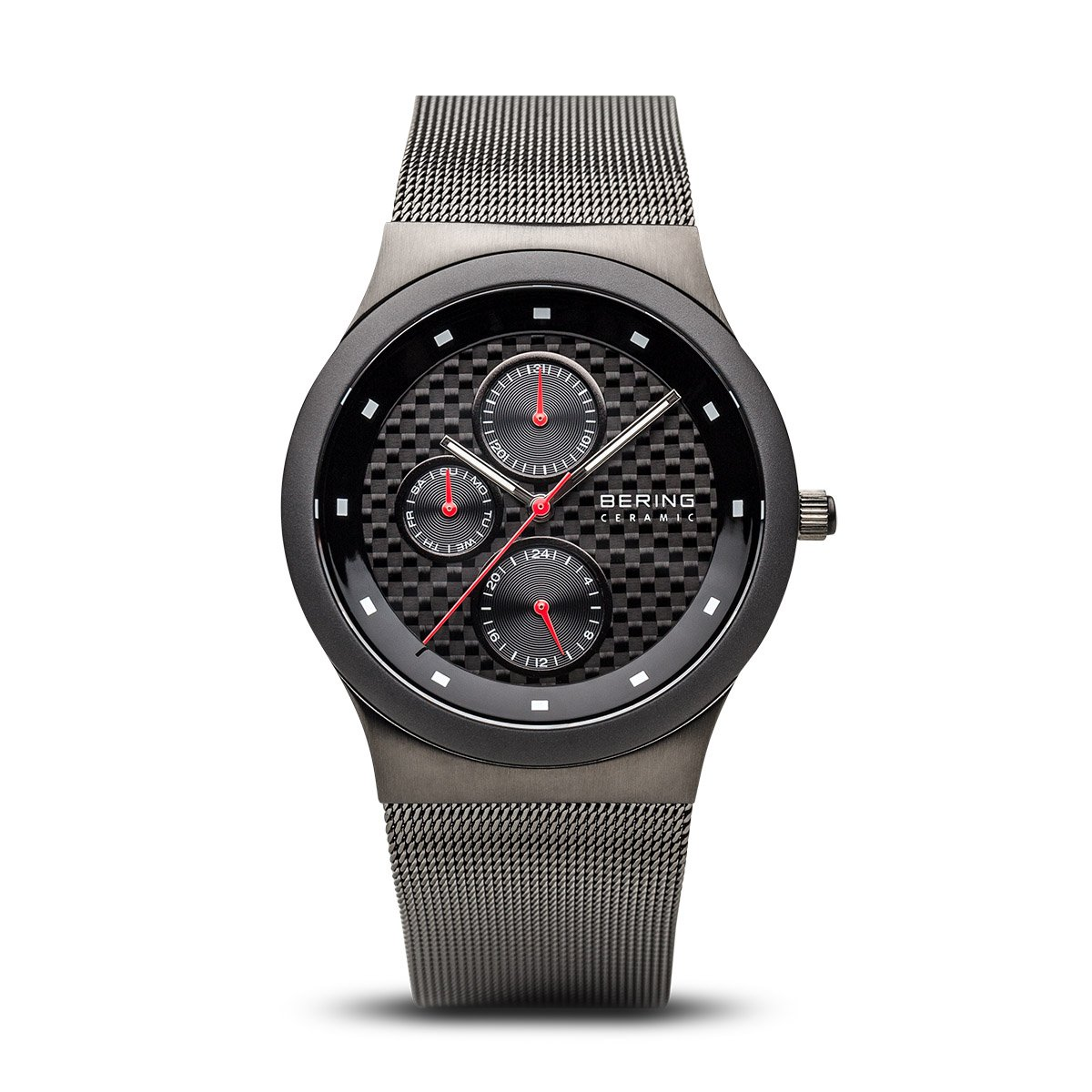 BERING Time 32139-309 Mens Ceramic Collection Watch with Mesh Band and scratch resistant sapphire crystal. Designed in Denmark.