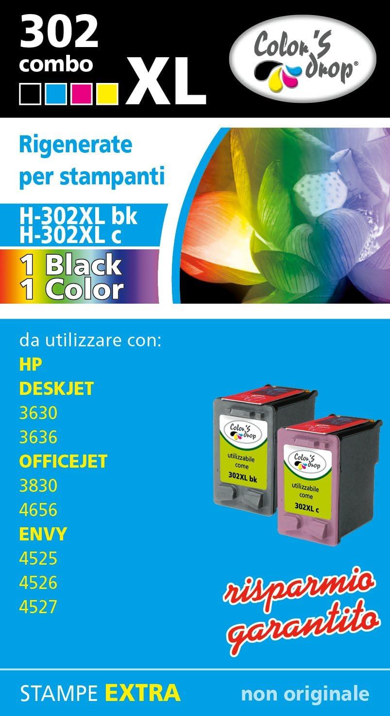 Cartuchos regenerados HP 302XL BK + 302XL de color. Combo Pack de ...