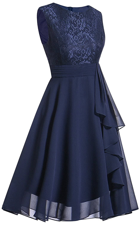 LANOMI Damen Chiffon Kleid Party Kleider Abendkleid Cocktailkleid ...