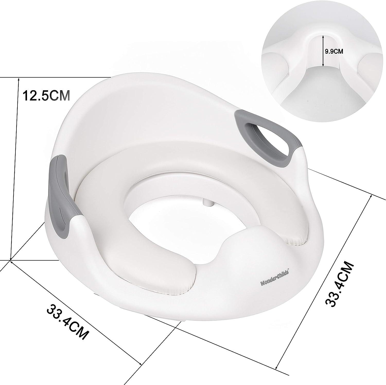 Reductor WC Ni/ños con coj/ín Protector contra salpicaduras Adaptador WC Ni/ños Antideslizante ergon/ómico para ni/ños de 1 a 7 a/ños Blanco WONDER CHILDS