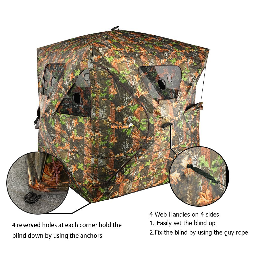 VULTURE Pop-up Portable 3-Person Ground Hunting Blind, 65'' X 65'' X 74'',Camo Pattern, Oxford Fabric Hunting Blinds by Vulture (Image #6)