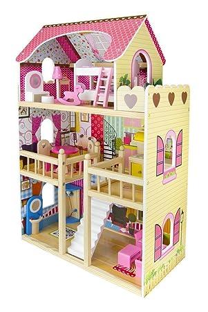 Leomark Traumvilla Holzpuppenhaus Mit Möbeln, Puppenhaus Holz. Plus Gratiss  3 Puppen.