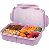 Bento Box for Adults Lunch Containers for Kids 3 Compartment Lunch Box Food Containers Leak Proof(Includes Flatware)