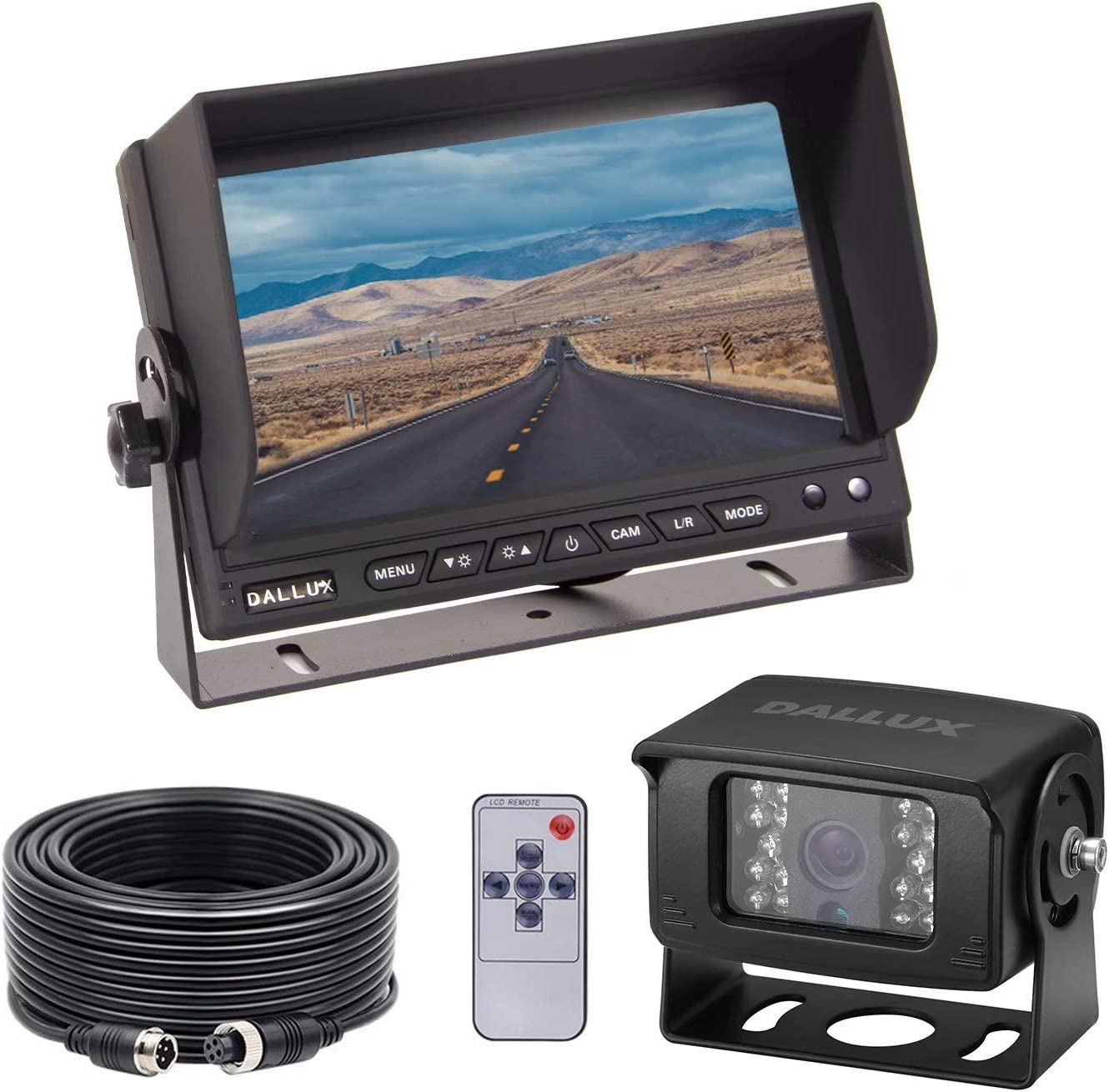 Heavy-Duty Vehicle Truck Bus Backup Camera System, Waterproof Night Vision Rear View Camera with 7 inch Monitor+66ft 4 PIN Camera Cable for Bus Truck Van Trailer RV Campers Motor Home(12V 24V)