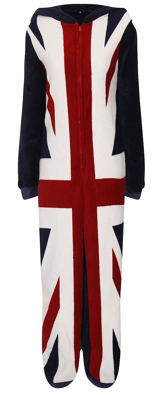 Mens Union Jack Onesies Full Length Fleece Onesie Hooded All In One Jumpsuit, Union Jack, X Small
