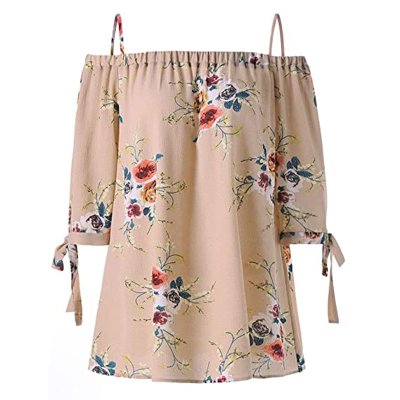 Tops para Mujer,RETUROM Moda para Mujer Plus Size Estampado Floral Blusa de Hombro frío