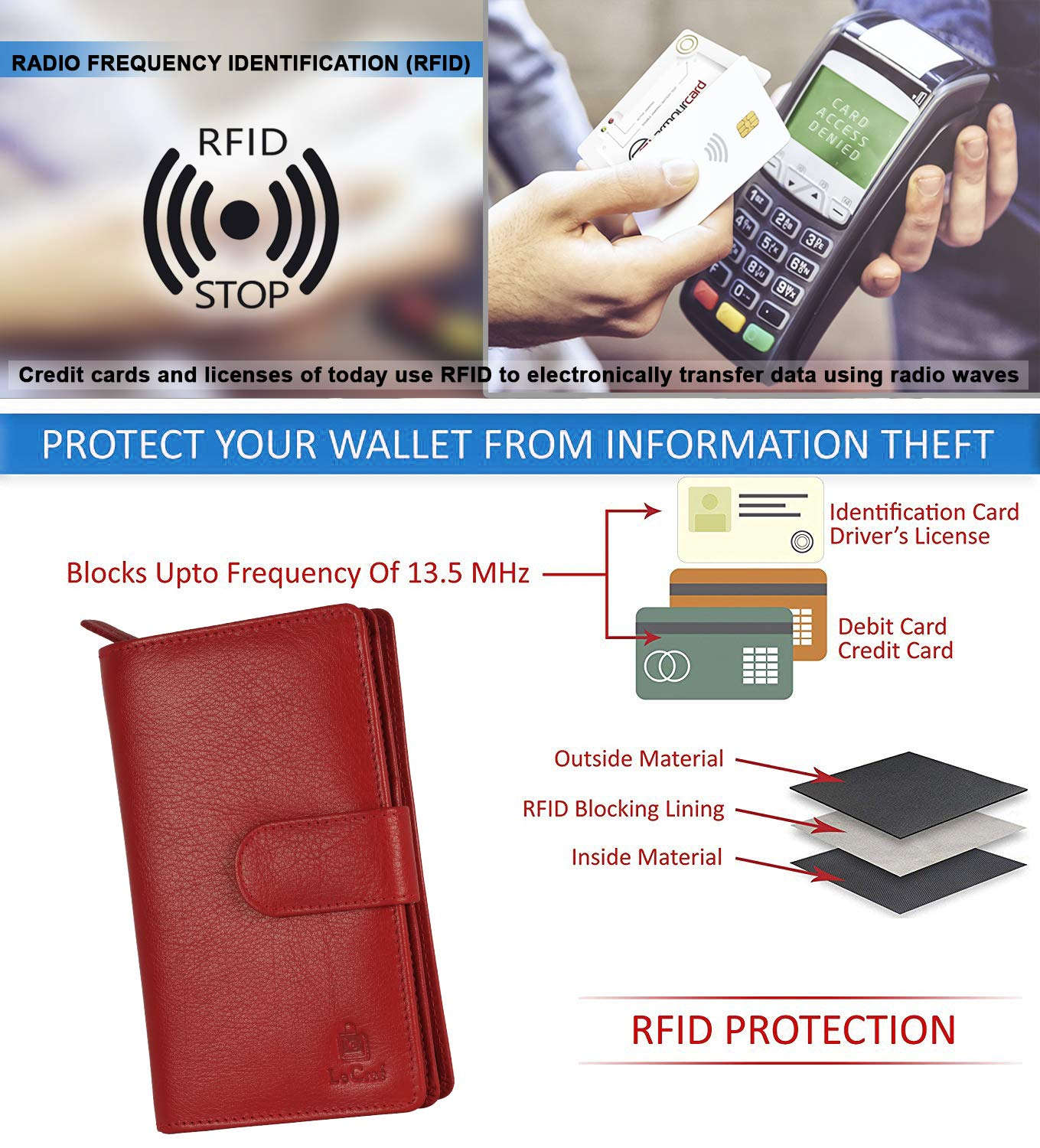 Le Craf Tina Red Genuine Leather RFID Blocking Wallet Clutch for ...