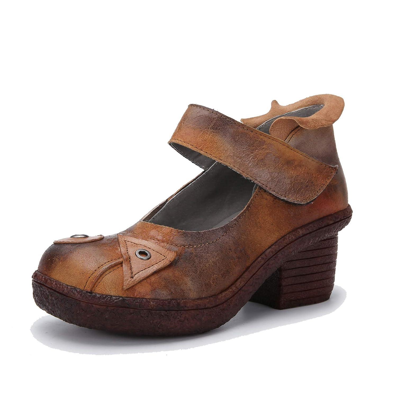 Zapatos de tacón de Bloque Vintage de Mujer Botines de Velcro con cuña en Cuero Genuino de otoño: Amazon.es: Zapatos y complementos