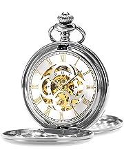 ManChDa Orologio da tasca Retro Liscio Classico orologio da taschino meccanico a carica manuale Windpunk Numeri romani Orologio da taschino per uomo Donna con catena + confezione regalo