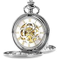 ManChDa Reloj de Bolsillo Retro Suave Clásico Mecánico Hand-Wind Reloj de Bolsillo Números Romanos Steampunk Reloj Fob…