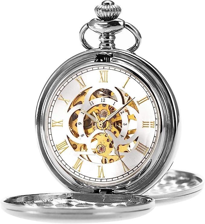 ManChDa Reloj de Bolsillo Retro Suave Clásico Mecánico Hand-Wind Reloj de Bolsillo Números Romanos Steampunk Reloj Fob para Hombres, Mujeres con Cadena + Caja de Regalo: Amazon.es: Relojes