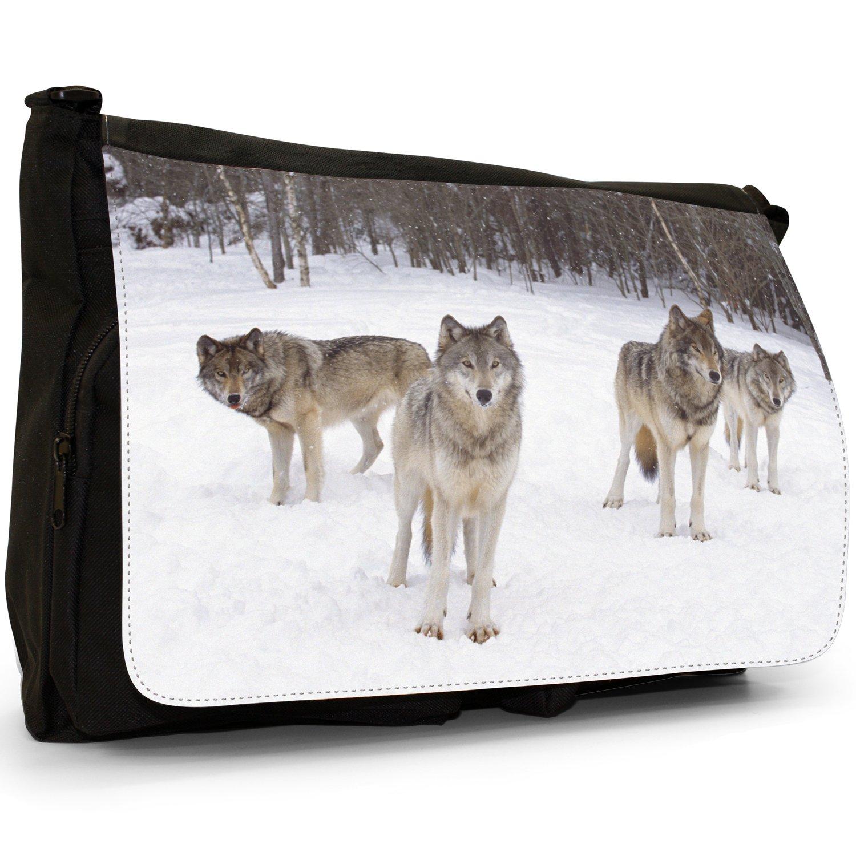 d445f6a9c3 Borsa a tracolla grande con immagine di lupo, in tela, per scuola o  computer, colore: nero, Nero (Grey Wolf Howling), L: Amazon.it: Scarpe e  borse