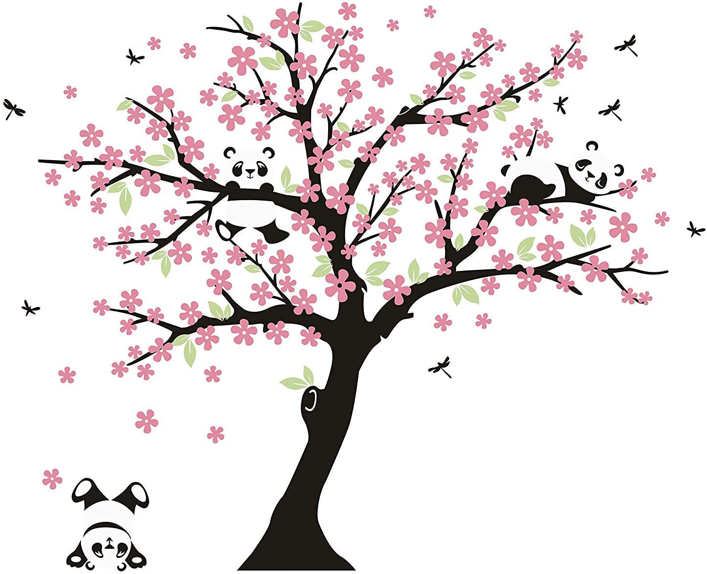 Tree Wall Decals for Kids Room with Three Little Panda Bears Wall Stickers Nursery Wall Decals Room Decoration (Pink)
