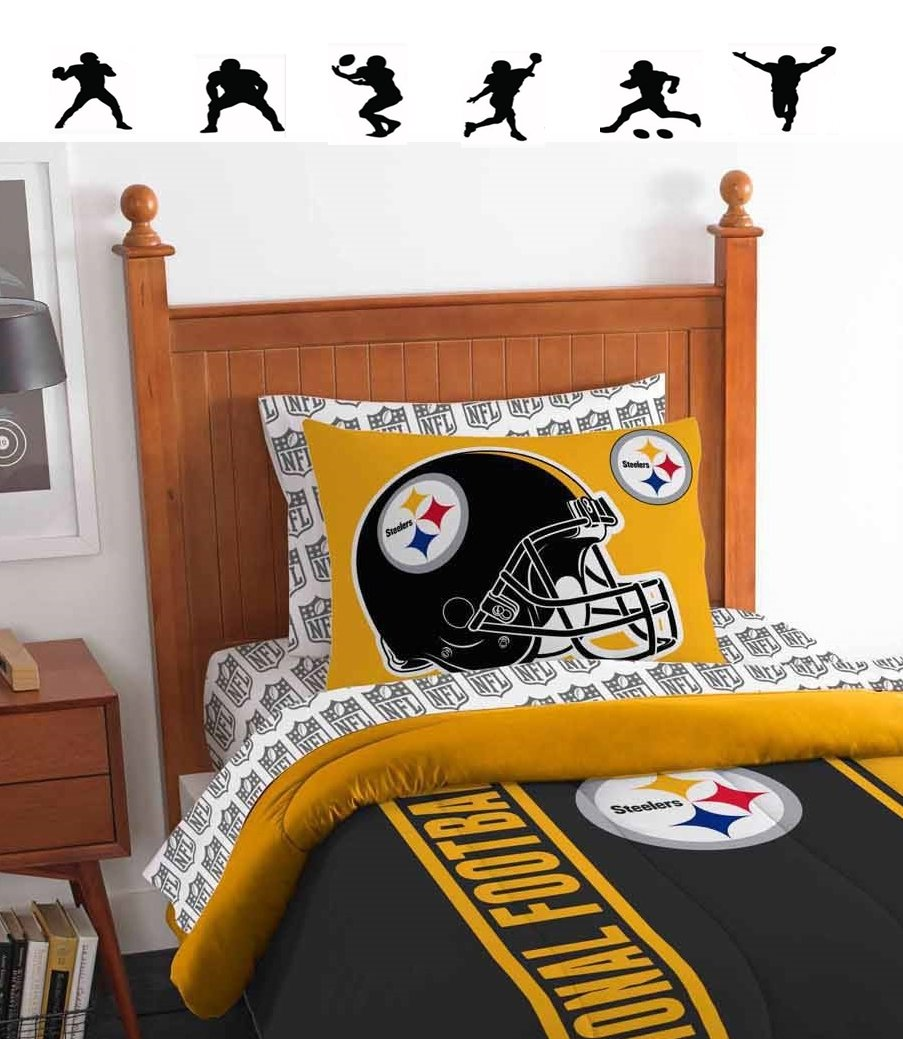 NFL PITTSBURGH STEELERS 5pc TWIN Size Comforter. Pillow Sham and Sheet Set + WALL DECALS
