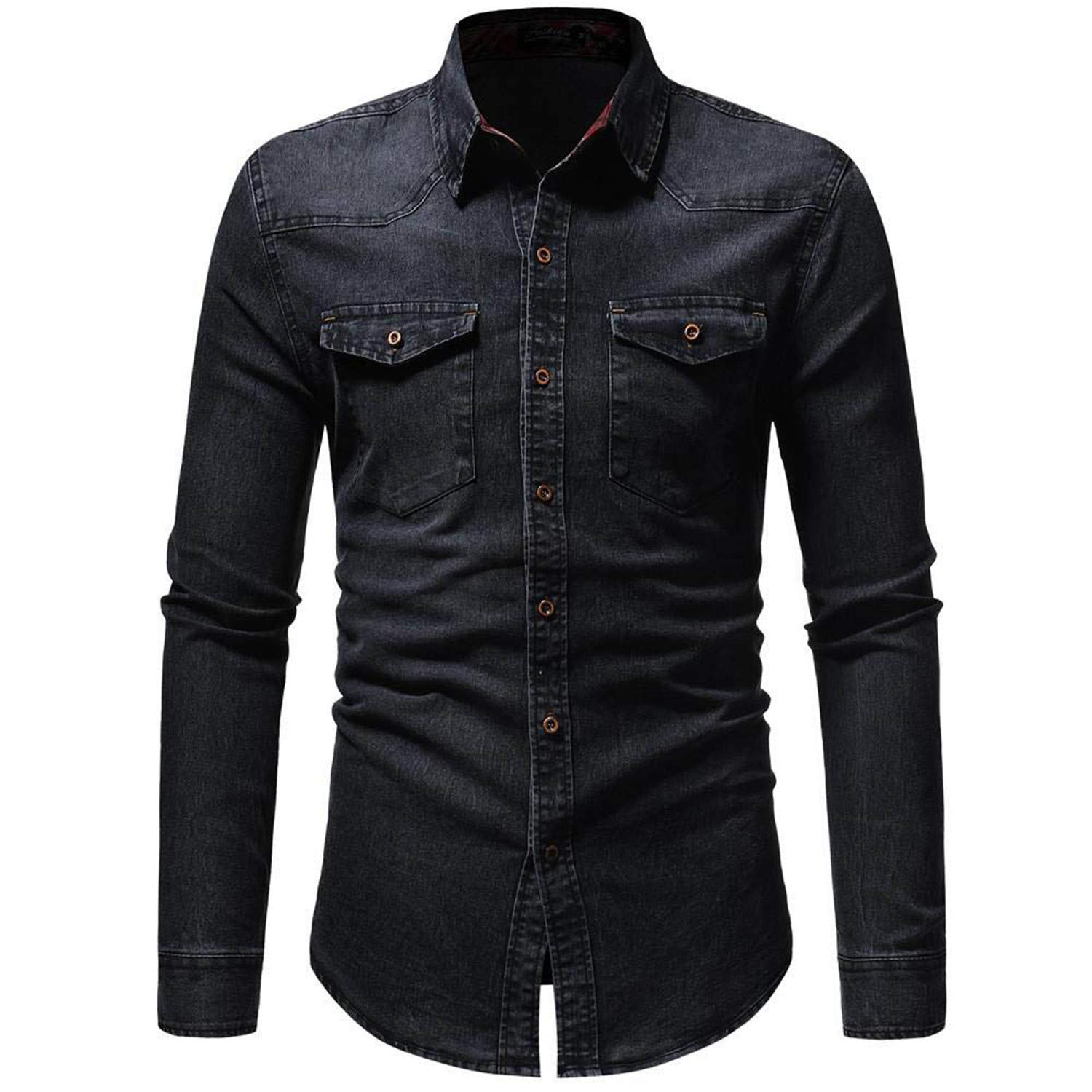 Gomfe Mens Business Work Shirt Vintage Distressed Solid Denim Long Sleeve Top Blouse
