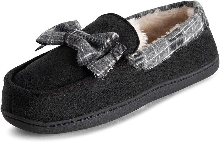 Polar Womens Memory Foam Classic Tartan Faux Fur Plush Luxury Rubber Sole Moccasin Loafer Outdoor Slipper