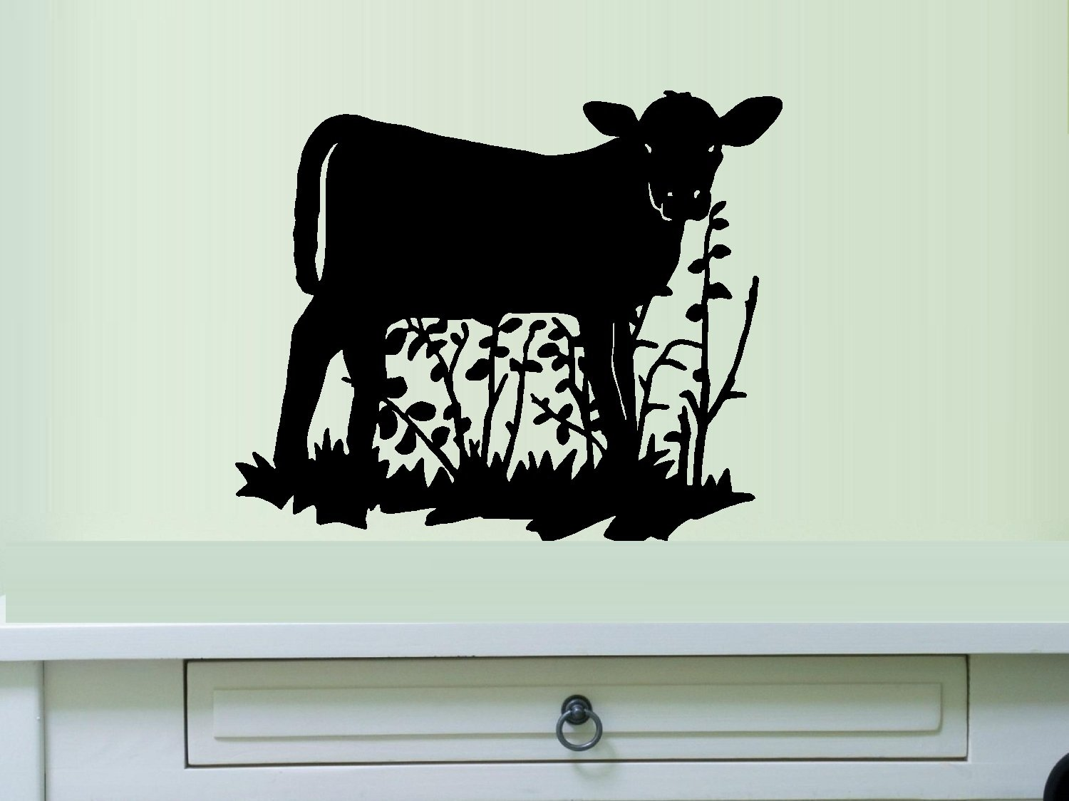Wall or Window Decal 13 x 16 Starlight Decals Cow on Grass Black By