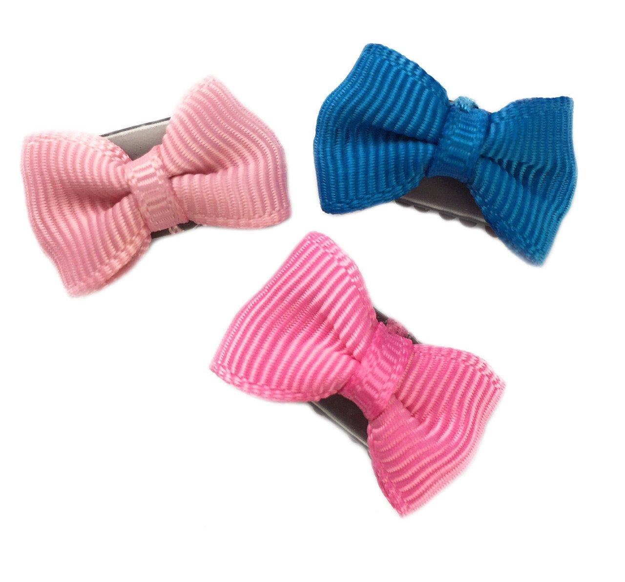 Baby Wisp Clip 3 Mini Infant Fine Hair Tiny Bow Grosgrain Baby Girls Accessory Newborn