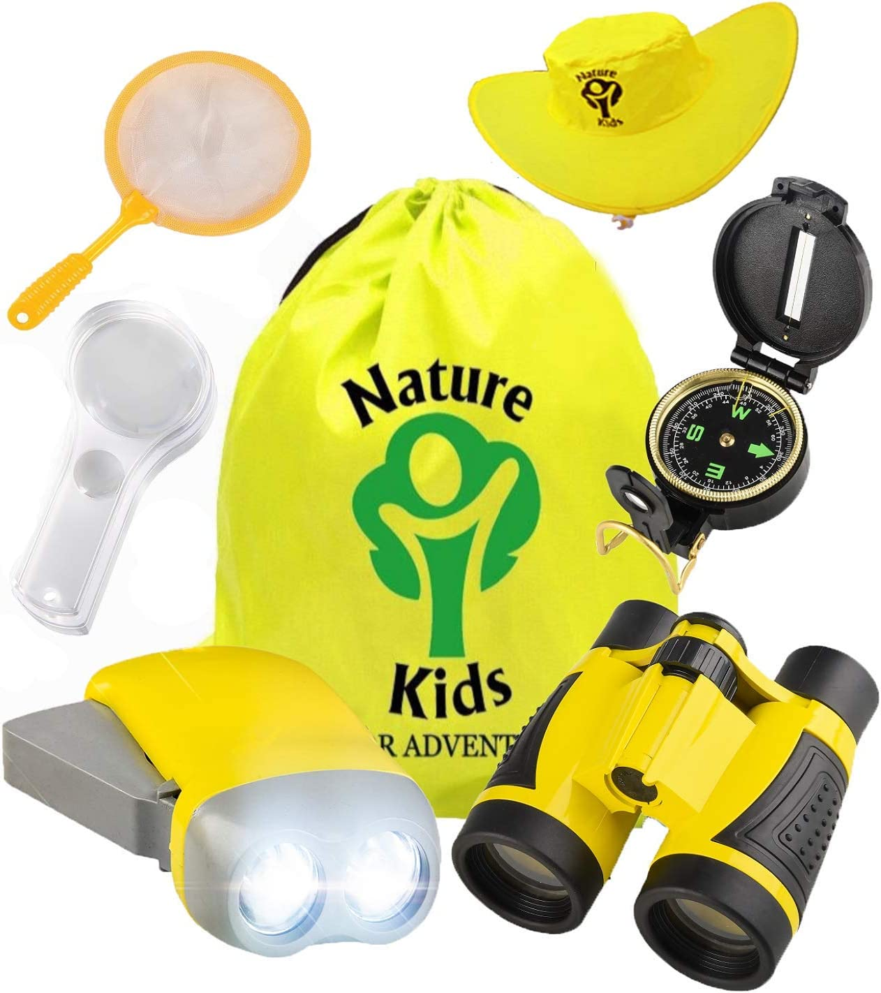 Flashlight Compass Childrens Toy Binoculars Outdoor Exploration Kit: Kids Adventure Set Educational Gift for Hiking Butterfly Net Magnifying Glass Backpack Whistle Camping /& Pretend Play