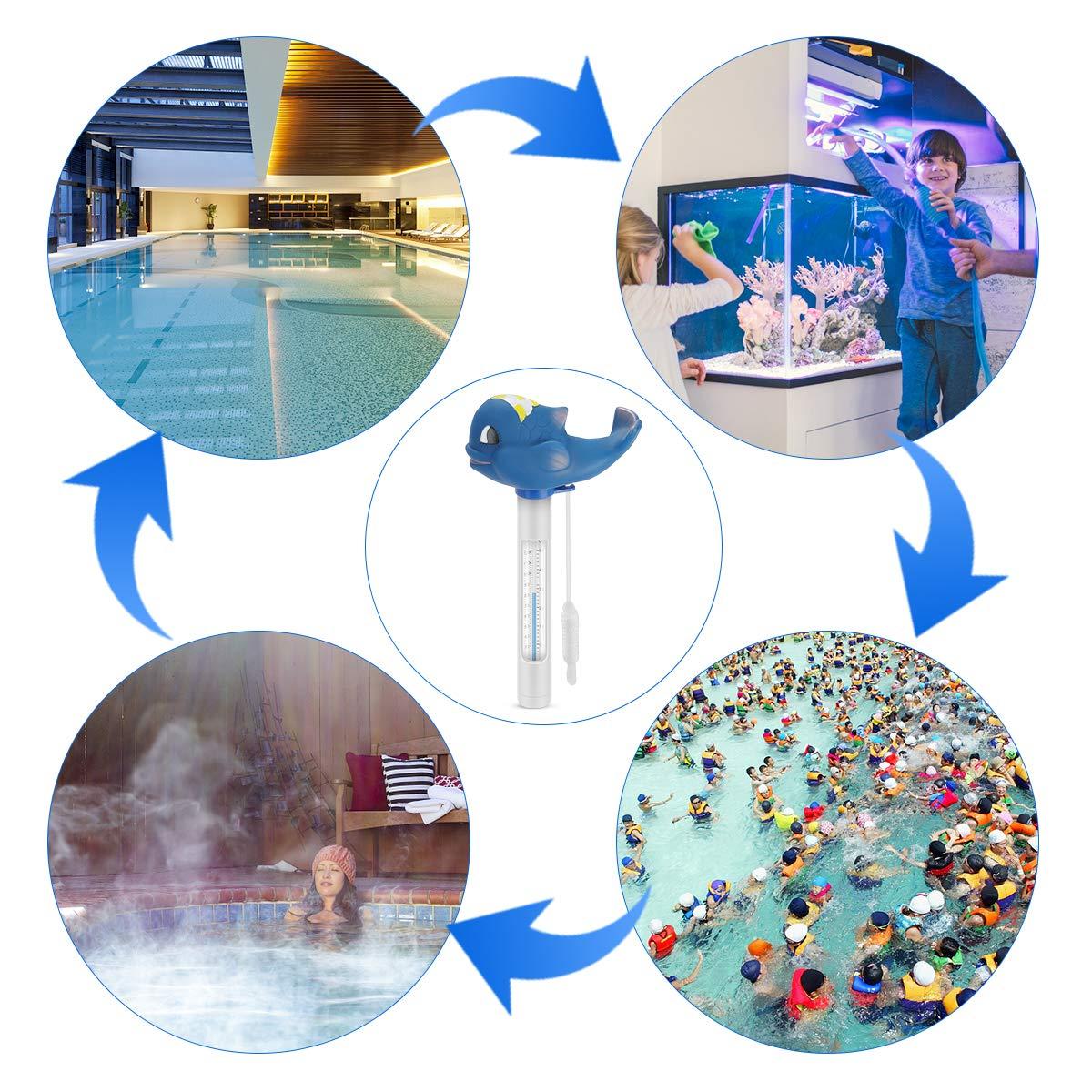 RenFox Termometro Galleggiante Acqua Termometro Galleggiante con Stringa Resistenti agli Urti per Piscina vasche per Pesci Spa acquari stagni vasche idromassaggio