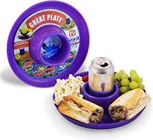 GREAT PLATE Kids Plates Adult Food Tray and Beverage Holder for Parties, Reusable, Heavy Duty and BPA Free Plastic, 10 Inch (Purple 6 Pack) Dishwasher Safe