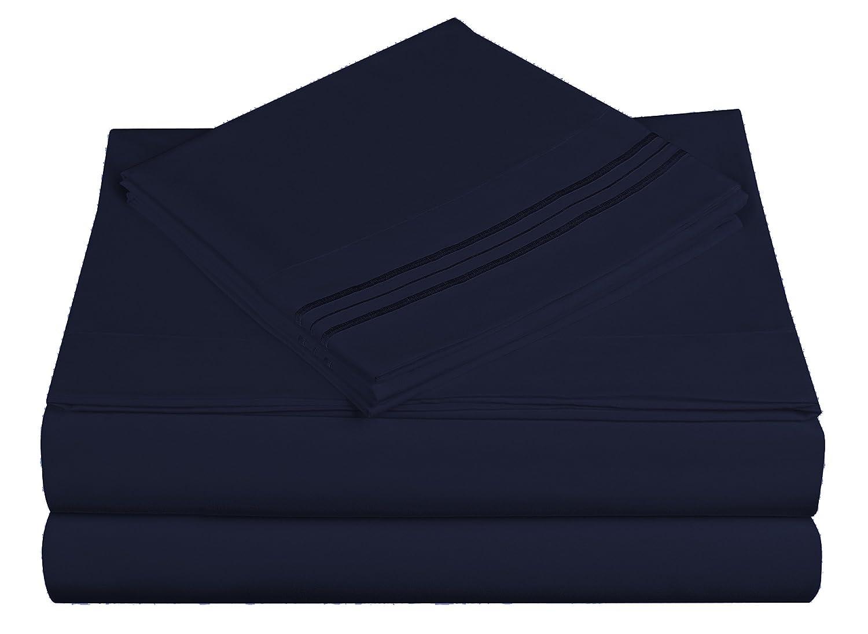 Cathayホームソフト起毛3線刺繍ベッドシートセット キング ブルー 108483-K-N B017V0028Q ネイビー キング